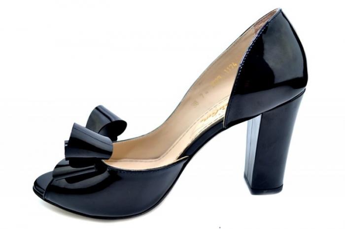 Pantofi cu toc Piele Naturala Negri Guban Cleopatra D01553 1