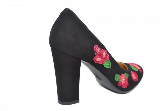 Pantofi cu toc Piele Naturala negri Guban Eline D01845 3