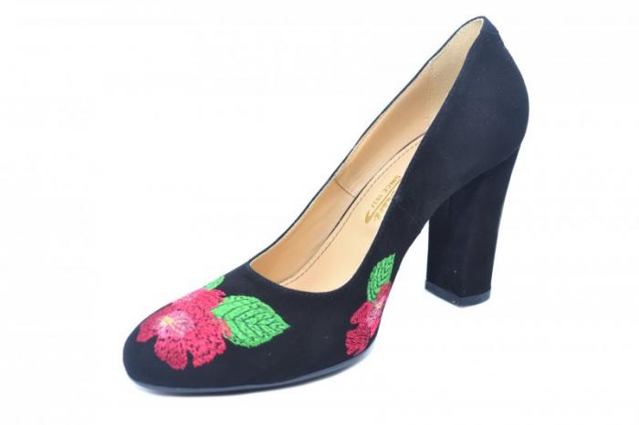 Pantofi cu toc Piele Naturala negri Guban Eline D01845 2
