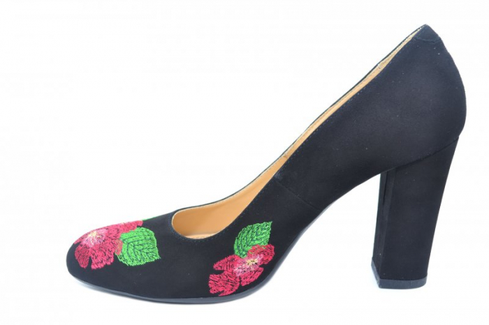 Pantofi cu toc Piele Naturala negri Guban Eline D01845 1