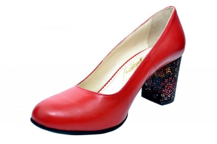 Pantofi cu toc Piele Naturala Rosii Guban Galina D01796 2