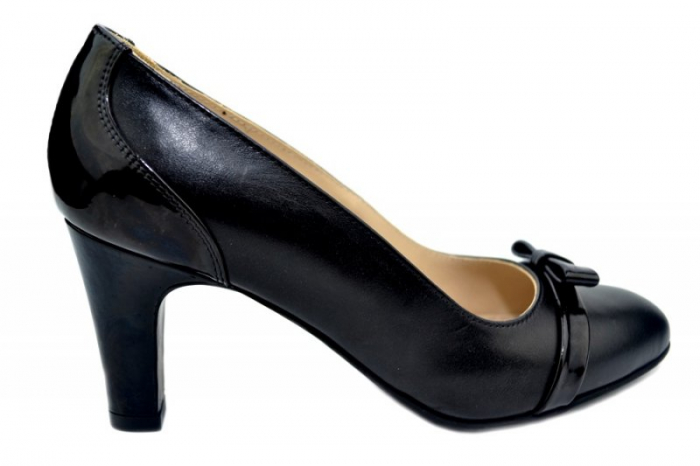Pantofi cu toc Piele Naturala Negri Guban Irene D01361 [0]