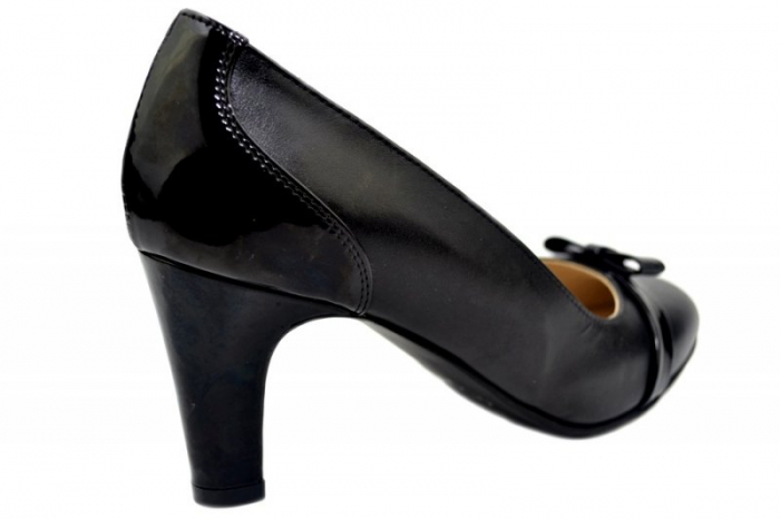 Pantofi cu toc Piele Naturala Negri Guban Irene D01361 1