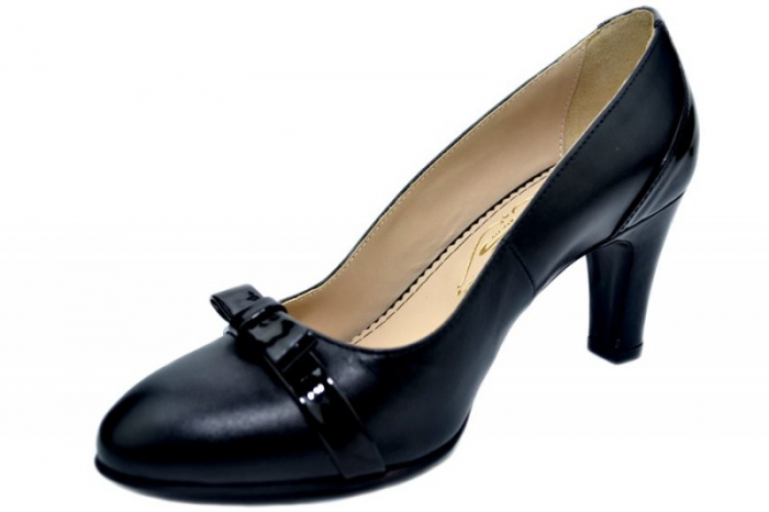 Pantofi cu toc Piele Naturala Negri Guban Irene D01361 2