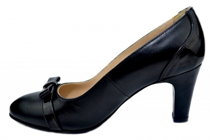 Pantofi cu toc Piele Naturala Negri Guban Irene D01361 3