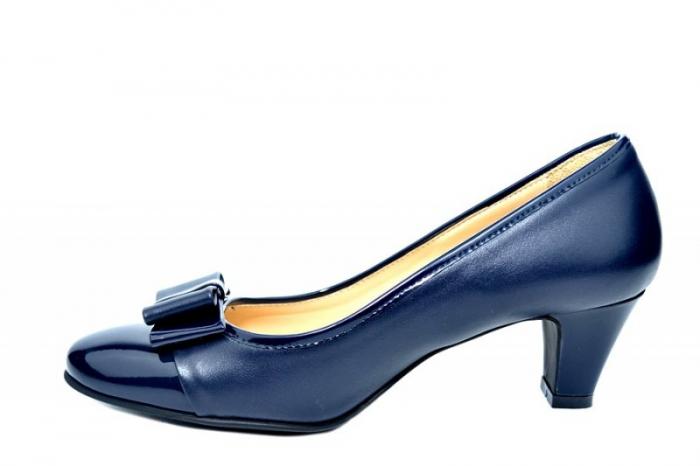 Pantofi cu toc Piele Naturala Bleumarin Guban Larissa D01817 1