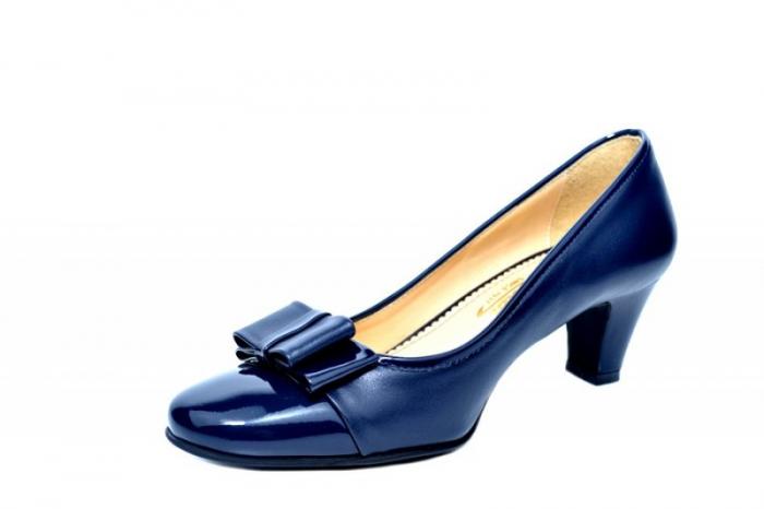 Pantofi cu toc Piele Naturala Bleumarin Guban Larissa D01817 2