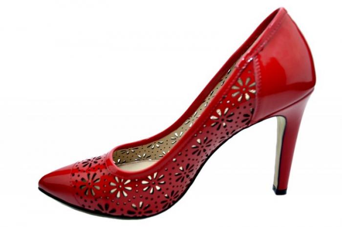 Pantofi cu toc Piele Naturala Rosii Guban Sandra D01574 1