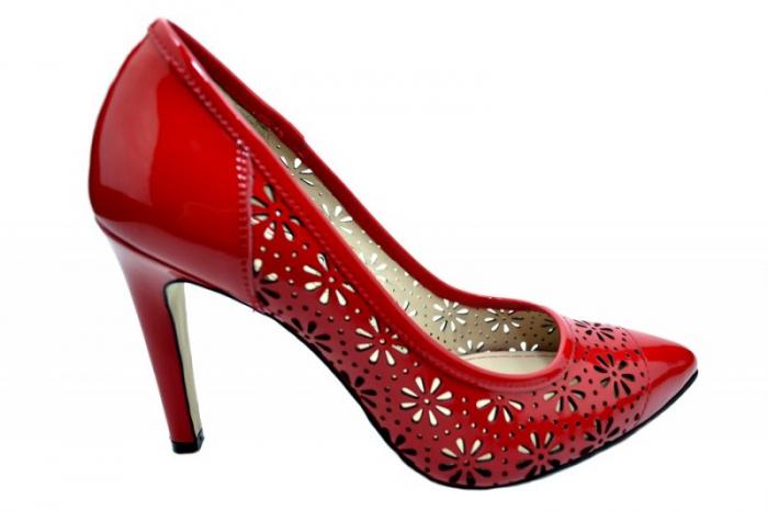 Pantofi cu toc Piele Naturala Rosii Guban Sandra D01574 0