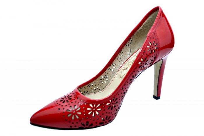 Pantofi cu toc Piele Naturala Rosii Guban Sandra D01574 2