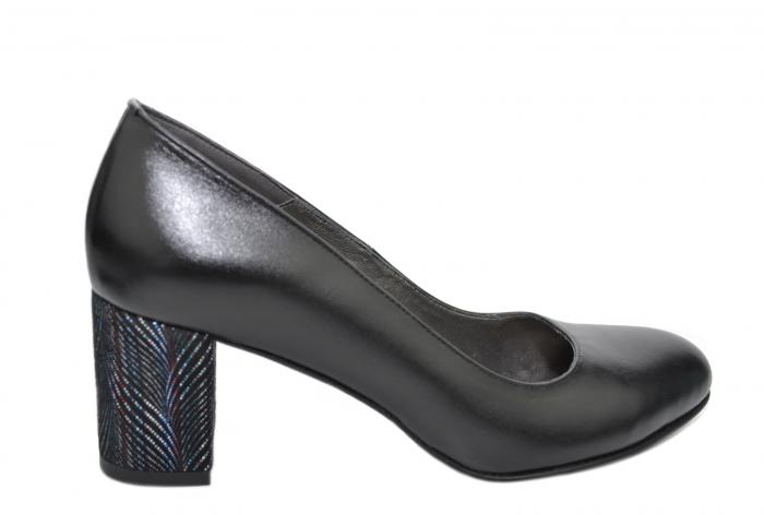 Pantofi cu toc Piele Naturala Negri Moda Prosper Hazel D02070 0