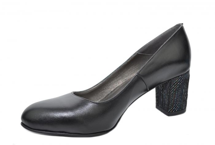 Pantofi cu toc Piele Naturala Negri Moda Prosper Hazel D02070 2