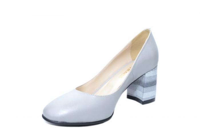 Pantofi cu toc Piele Naturala Gri Moda Prosper Hortensia D02026 2
