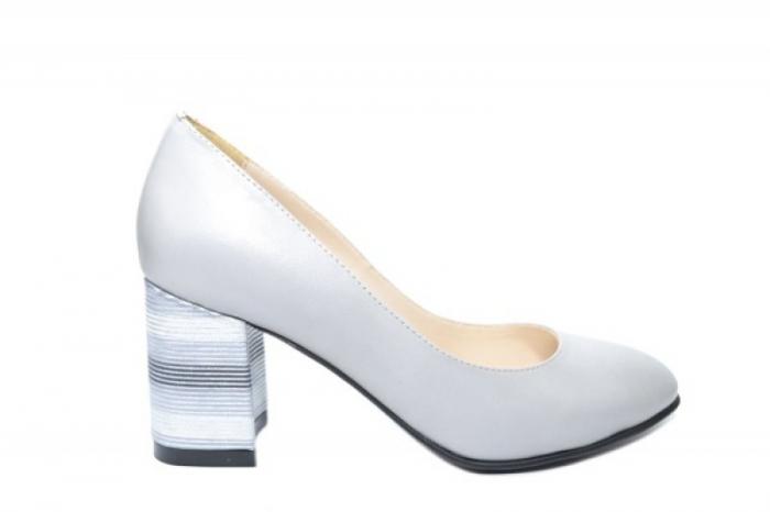 Pantofi cu toc Piele Naturala Gri Moda Prosper Hortensia D02026 0