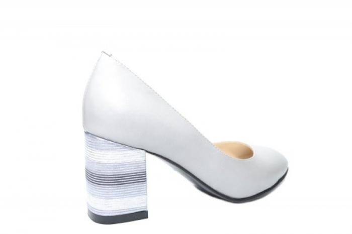 Pantofi cu toc Piele Naturala Gri Moda Prosper Hortensia D02026 3