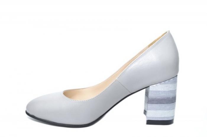 Pantofi cu toc Piele Naturala Gri Moda Prosper Hortensia D02026 1