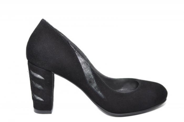 Pantofi cu toc Piele Naturala Negri Moda Prosper Isra D02029 0