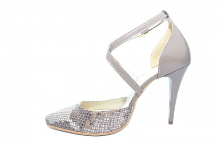 Pantofi Dama Piele Naturala Grej Jayne D01861 1