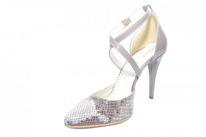 Pantofi Dama Piele Naturala Grej Jayne D01861 2