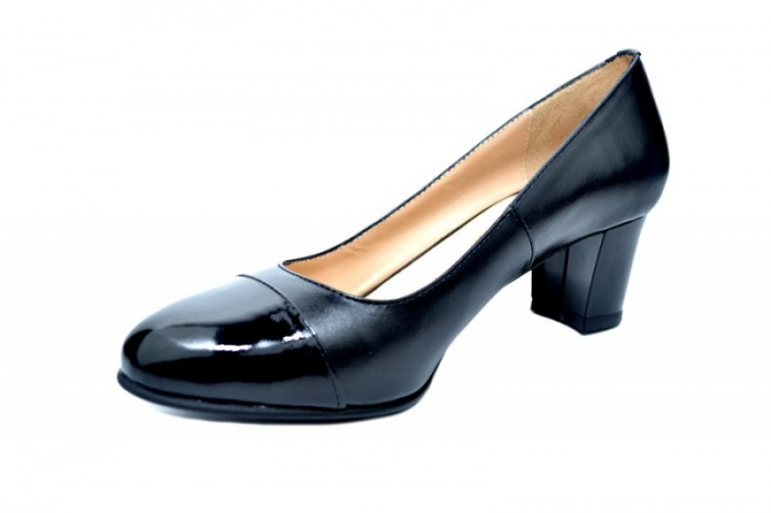Pantofi cu toc Piele Naturala Negri Moda Prosper Jiba D01735 2