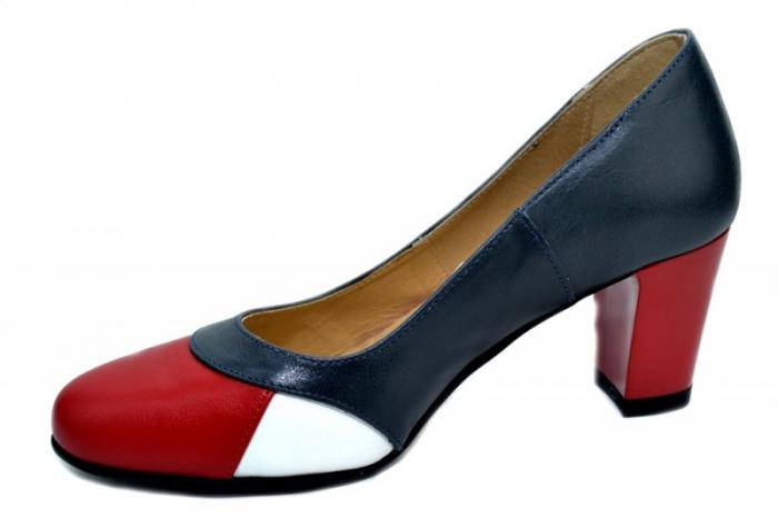 Pantofi cu toc Piele Naturala Bleumarin Joelle D01322 2