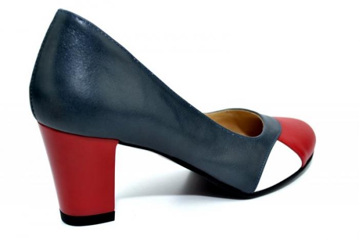 Pantofi cu toc Piele Naturala Bleumarin Joelle D01322 3