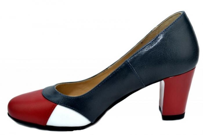 Pantofi cu toc Piele Naturala Bleumarin Joelle D01322 1
