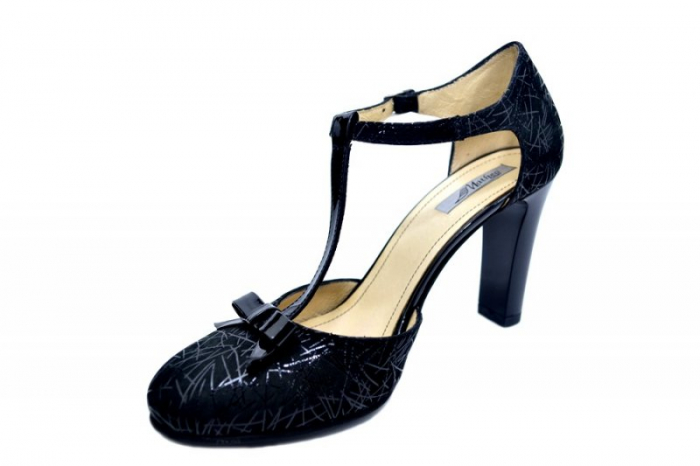 Pantofi Dama Piele Naturala Negri Lana D01589 2