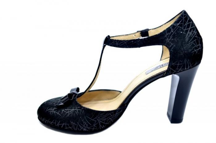 Pantofi Dama Piele Naturala Negri Lana D01589 1