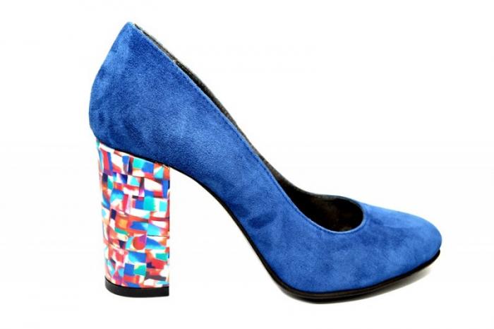 Pantofi cu toc Piele Naturala Bleumarin Moda Prosper Leticia D01823 0