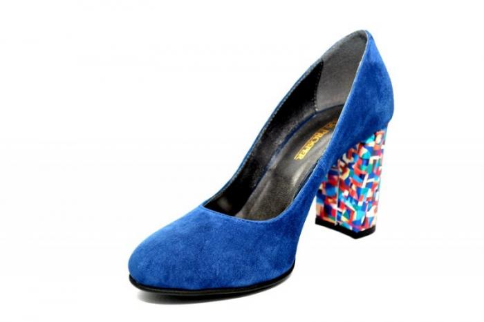 Pantofi cu toc Piele Naturala Bleumarin Moda Prosper Leticia D01823 2