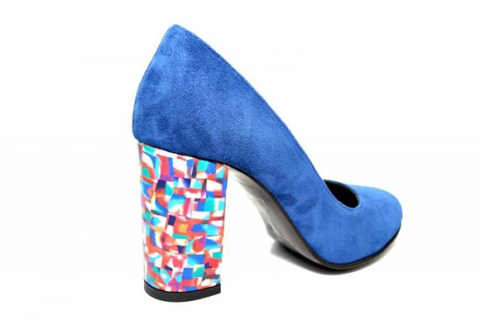 Pantofi cu toc Piele Naturala Bleumarin Moda Prosper Leticia D01823 3
