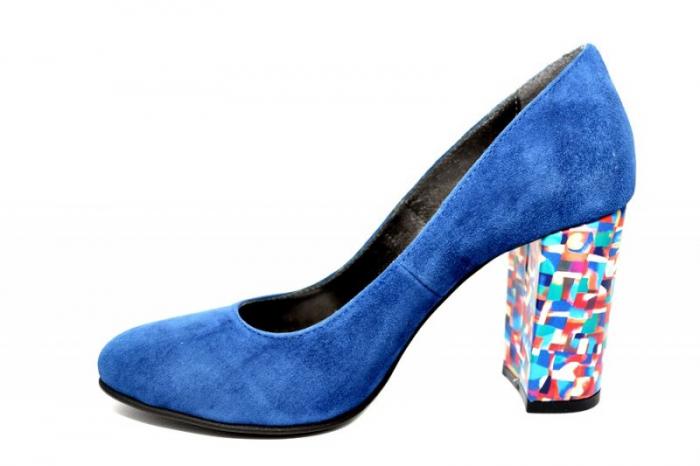 Pantofi cu toc Piele Naturala Bleumarin Moda Prosper Leticia D01823 1
