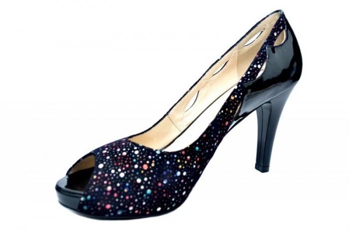 Pantofi cu toc Piele Naturala Negri Lowanna D01740 2
