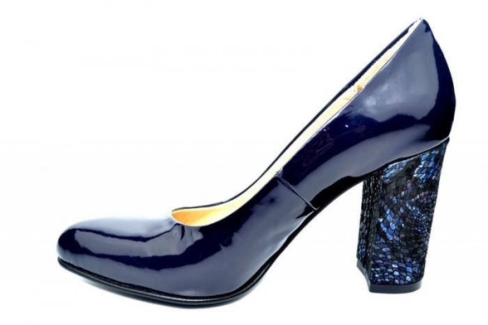 Pantofi cu toc Piele Naturala Bleumarin Luana D01828 1