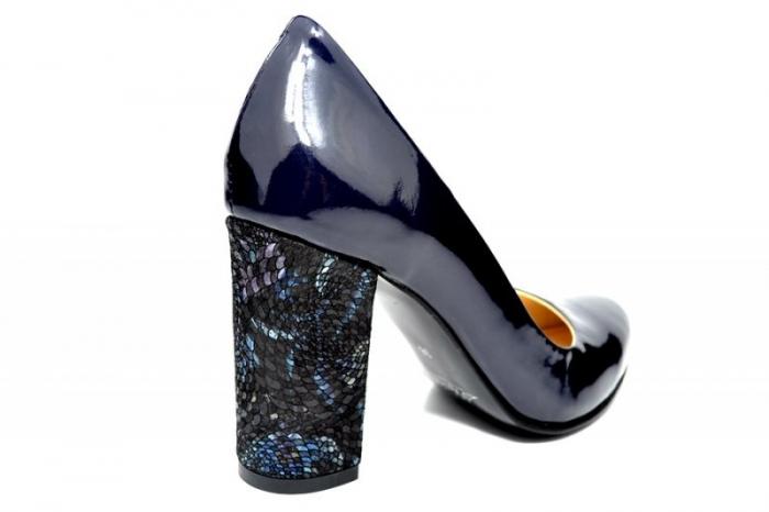 Pantofi cu toc Piele Naturala Bleumarin Luana D01828 3