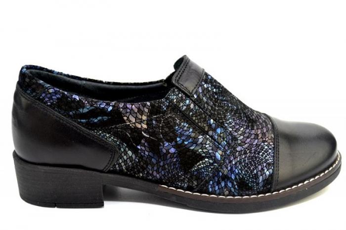 Pantofi Casual Piele Naturala Negri Lucille D01277 2