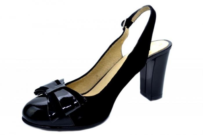 Pantofi Dama Piele Naturala Negri Moda Prosper Luna D01284 2