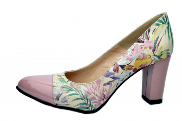 Pantofi cu toc Piele Naturala Roz Moda Prosper Madonna D01624 1