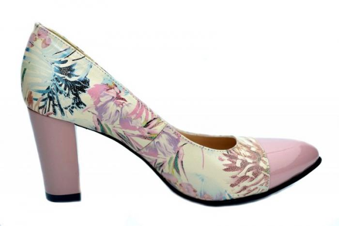 Pantofi cu toc Piele Naturala Roz Moda Prosper Madonna D01624 0