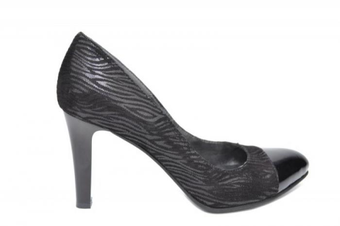 Pantofi cu toc Piele Naturala Negri Moda Prosper Madonna D01906 [0]