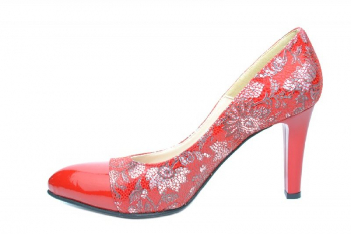 Pantofi cu toc Piele Naturala Rosii Moda Prosper Madonna D01907 1