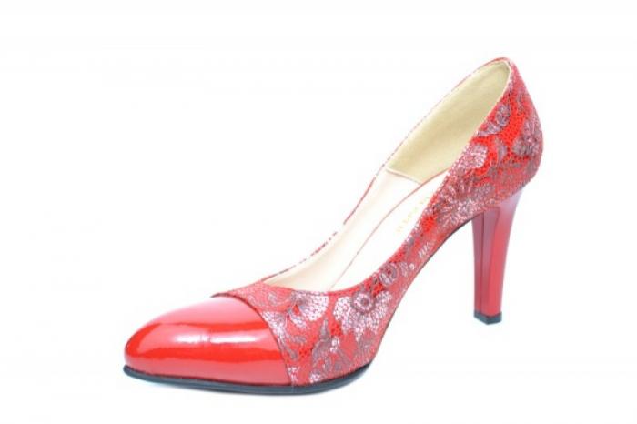 Pantofi cu toc Piele Naturala Rosii Moda Prosper Madonna D01907 2