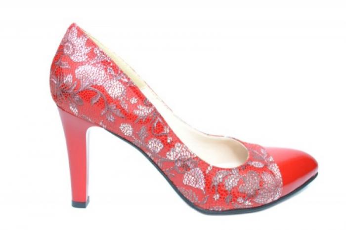 Pantofi cu toc Piele Naturala Rosii Moda Prosper Madonna D01907 [0]
