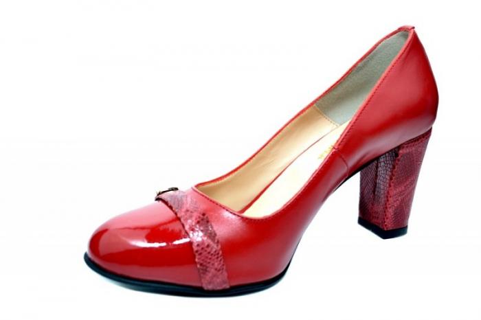 Pantofi cu toc Piele Naturala Rosii Moda Prosper Meera D01736 2