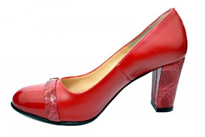 Pantofi cu toc Piele Naturala Rosii Moda Prosper Meera D01736 1