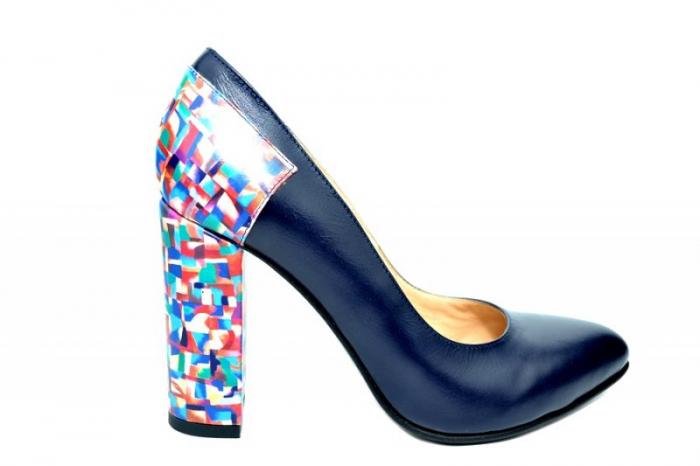 Pantofi cu toc Piele Naturala Bleumarin Moda Prosper Melisandre D01821 0