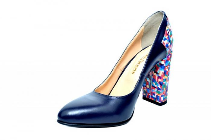 Pantofi cu toc Piele Naturala Bleumarin Moda Prosper Melisandre D01821 2