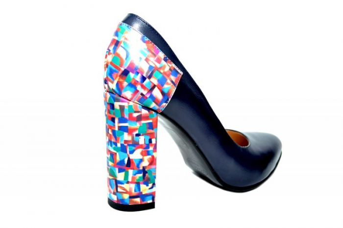 Pantofi cu toc Piele Naturala Bleumarin Moda Prosper Melisandre D01821 3