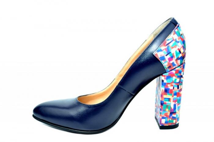 Pantofi cu toc Piele Naturala Bleumarin Moda Prosper Melisandre D01821 1